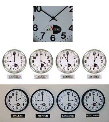 time zone wall clocks with AM/PM