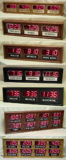 multiple time zone digital clocks