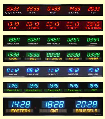 Time Zone Clocks Multiple Time Zone Digital Clocks