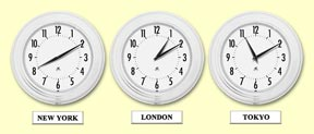 world time zone clocks - 10 inch