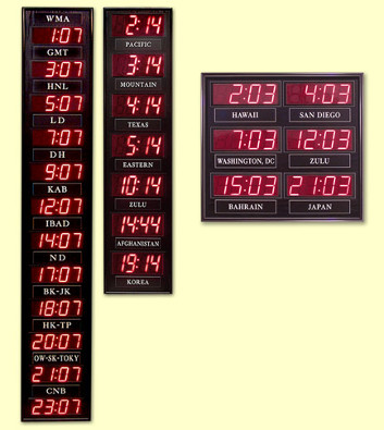 led digital time zone clocks