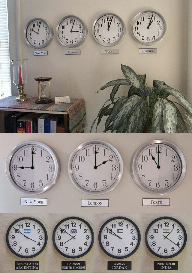 World Clocks Display Wall